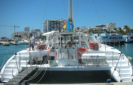 Catamaran charter in Ibiza 80 people