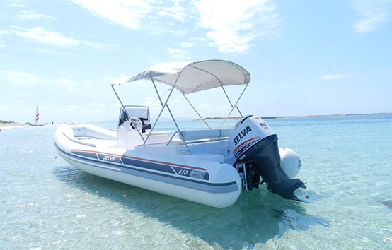 Ibiza inflatable boat charter Selva D650 ds