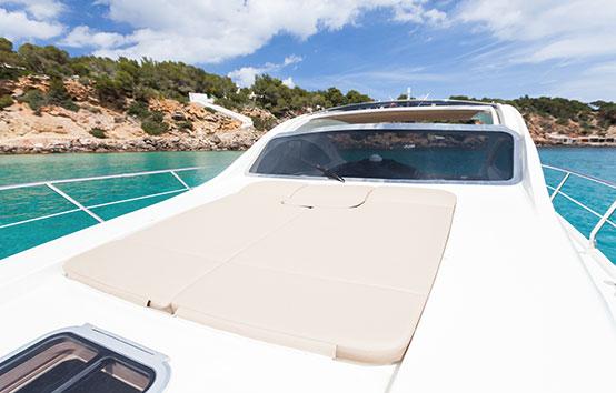 Ibiza boat sunbathing area charter Primatist G41 Abbate