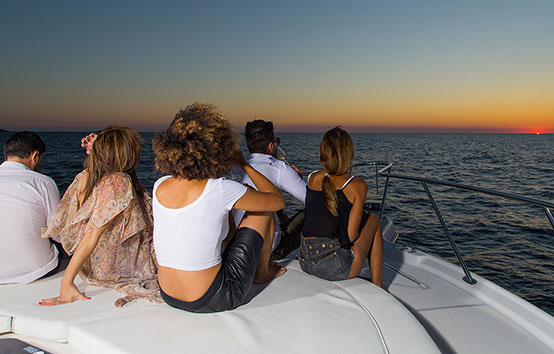 Enjoying the sunset on Ibiza Motorboat Tiara 4200 Open